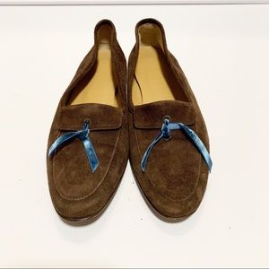 J. Crew Brown Suede Manhattan Flat Bow Loafer 5.5